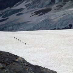 Seilschaft unterwegs am Gletscher.